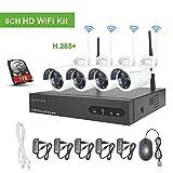 Kit Videosorveglianza WiFi Aottom1080P 8CH NVR +4PCS Telecamere Wifi, Kit Telecamere di Sorveglianza WiFi, Sistema Videosorveglianza WiFi, Visione Notturna, Motion Detection, P2P, incluso 1 TB HDD