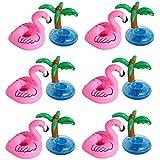 Aufblasbare Insel, outgeek aufblasbare Getränke Halter Pool Coasters Flamingo Palme Luftmatratze Flaschenhalter mit schnellen Ventilen für Summer Pool Party Deko 12 Stück (Flamingos Getränkehalter)