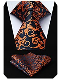 HISDERN Floral Paisley Wedding Tie Handkerchief Men's Necktie & Pocket Square Set
