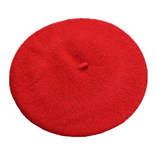 JOYHY Niños Sólido Color Estilo Francés Boina Gorrita Sombrero Rojo d762d371133