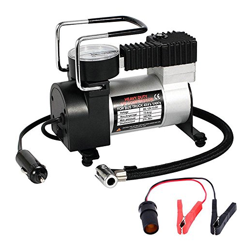 Pawaca 12V Portable Air Kompressor Pumpe mit 1Akku Batterie Clip & 3Aufblasbare Mund, Schnell Tire Kompressor für Auto, Truck, Wohnmobil-, Fahrrad und Andere Schlauchboote (12v Akku Luft Pumpe)