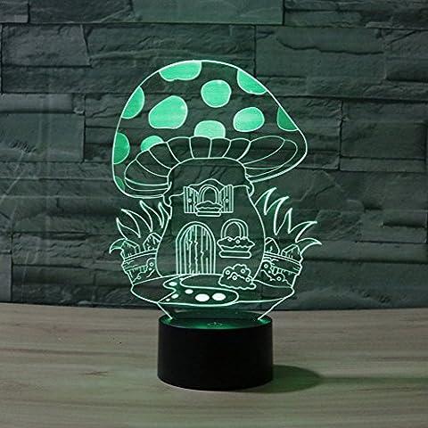 Illusion 3D jawell Lampe Champignon Veilleuse 7couleurs à langer Touch USB Table joli cadeau Jouets Décorations