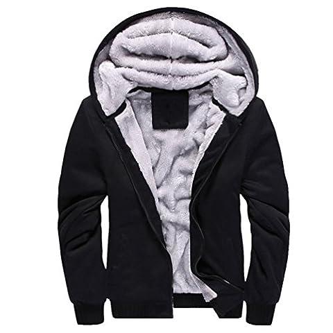 ZKOO Kapuzenpullover Herren Zipped Fleece Sweatjacke mit Kapuze Dicken Sweatshirt Kapuzenpulli Mantel Herbst Winter Schwarz