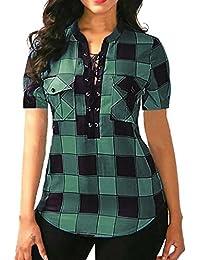 Lenfesh Camisa de Cuadros Manga Corta Cuello en V Mujer Verano Suelta Blusa Bolsillo Mezcla de Algodon Ropa de…
