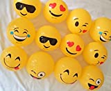 #9: west feen 12 pcs Emoji Smiley Emoticon 6 inches Bouncing Ball Yellow Rubber Inflatable Toy by west feen