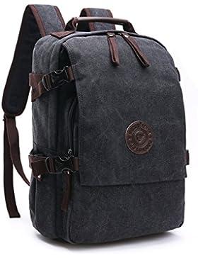 Loietnt Laptop-Rucksack, Vintage Casual Rucksack Umhängetasche aus Segeltuch, für Reisen Camping Rucksack, für...