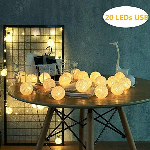LED Cotton Ball Lichterkette Warmweiß - ELINKUME 4M/13,12ft 20er LED Baumwollkugeln Stimmungsbeleuchtung Dekoratives Licht, Stromversorgung über USB, Perfekt für Party/Hochzeit/Urlaub/Weihnachten (Chip-des-monats-club)