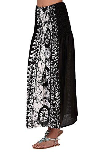 Pistachio - Femmes - Robe ou jupe mi-longue 2 en 1 motif floral pois été vacances - Noir, S - 36-38 Black Tie Dye