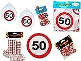 45-tlg. Partyset 50. Geburtstag Dekoset Dekobox - Verkehrschild - Tischdeko, Luftballons