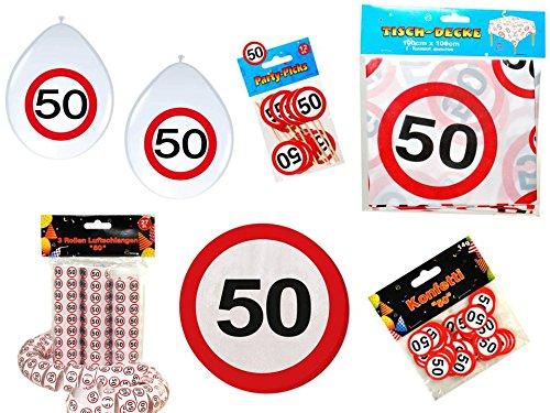 Geburtstag Dekoset Dekobox - Verkehrschild - Tischdeko, Luftballons (50 Geburtstag-servietten)