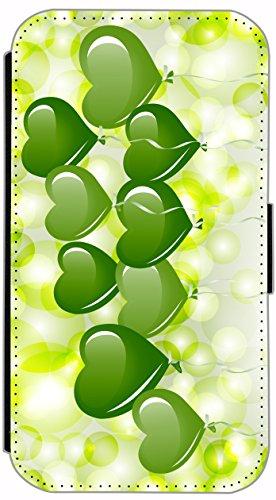 FioMi Flip Cover Schutz Hülle Handy Tasche Etui Case für (Apple iPhone 5 / 5s, 735 Schildkröte Blau Gelb) 726 viele grüne Herzen / Herz Grün quer