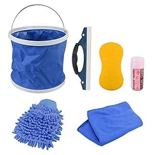 KFZ Auto Reiniger Extern, GOGOLO 7Stück KFZ Waschset Autopflegeset für Auto und Motorrad, für außen, inkl. Waschhandschuh, Schwamm, Wasseraufnahmetuch, Mikrofaser-Tücher, Abzieher, Wassereimer.