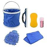 Nettoyeur Voiture Exterieur, GOGOLO Kits de nettoyage extérieur 7 pièces pour voiture, moto, gant, éponge, serviette absorbante, chiffon en microfibre, raclette, récipient