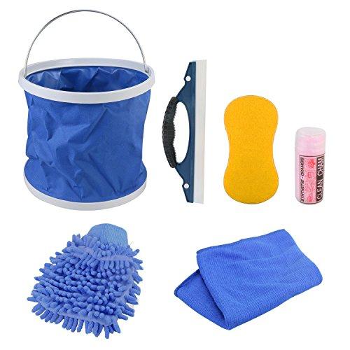 KFZ Auto Reiniger Extern, GOGOLO 7Stück KFZ Waschset Autopflegeset für Auto und Motorrad, für außen, inkl. Waschhandschuh, Schwamm, Wasseraufnahmetuch, Mikrofaser-Tücher, Abzieher, Wassereimer. (Super Behandeln Fleck)