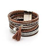 ManuMar Damen Schmuck | Armband mit Magnetverschluss | Lederimitat mit Strass-Steinen und Fransen-Quaste | Hippie Fashion Arm-Schmuck PU-Leder