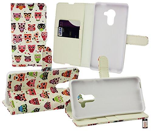 Emartbuy® Vodafone Smart Platinum 7 Brieftaschen Wallet Etui Hülle Case Cover aus PU Leder mit Kreditkartenfächern - Eulen