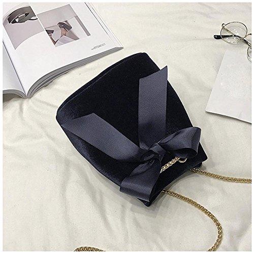 Longra Donna Sacchetto di spalla singolo della catena dell'arco della camicia Nero