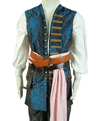 Caribbean 4 Jacke Jack Sparrow Weste Cosplay Kostüm Herren Maßanferigung (Jack Sparrow Kostüm Jungen)