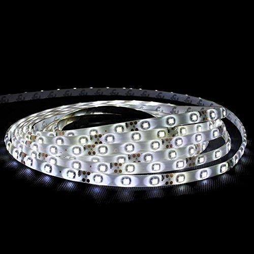 ECD Germany 1m LED Band mit Netzteil 2A - 3528 SMD - Kaltweiß - 60 LED/m - Wasserfest - Lichtband Lichterkette Beleuchtung Strip