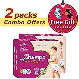 Premium Champs High Absorbent Premium Pant Style Diaper (Pack Of 2)(Free 2-Pair Socks)| Premium Pant Diapers | Premium Diapers | Premium Baby Diapers | Anti-rash And Anti-bacterial Diaper | (Medium, 56) …