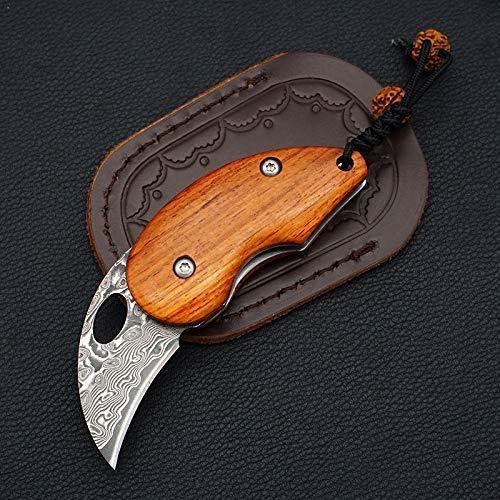 Damast Taschenmesser Klein Mini Klappmesser Holzgriff Damaststahl Messer Damastmesser mit Ledertasche (Mini-taschenmesser)