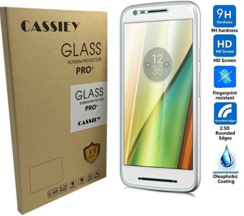 CASSIEY Amazing PRO+ 0.3 mm 2.5D 9H Hardness Anti-Explosion Tempered Glass Phone HD Screen Protector For Moto E 3rd Generation E3 Power 2016- Retail Packaging - Transparent With all Finger Print Sensor , Light Sensor , Camera Cutting and Installation Kit with Advanced Dust Remover