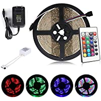 ALED LIGHT Multicolor Tira de Luz LED Impermeable LED Strip RGB 5M(16.4 ft) 3528 SMD 300 LEDs + Adaptador de Alimentación de 12V 2A + 24 Mando a Distancia Clave + Receptor + Descripción del Producto