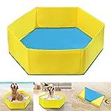 POPETPOP 90x 27cm pliable Chien piscine gonflable pour animal domestique Chiot Bain pour bain baignoire (Jaune)