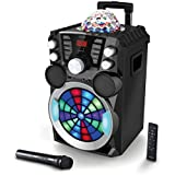 haiser tekkin móvil altavoz con luz de discoteca (batería de radio y karaoke micrófono FM Radio Sintonizador Bluetooth MP3USB