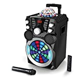 HAISER HSR 119 | Disco-Sound-Maschine mit • 400 Watt Musikleistung • Akku • kabellosem Mikrofon • Bluetooth • USB • Power Bank • MP3 • Radio • AUX-IN • Motorisiertes LED Disco Light • Fernbedienung | MIDORI Mobile Musik-Box-Anlage Mobiler-Lautsprecher Karaoke-System Akku-Lautsprecher Party-Lautsprecher-Soundsystem Trolley mit leistungsstarkem Bass Modell 2018