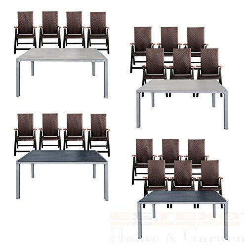 Gartentisch Set Alu Wpc 150x90 4 6 Stuhle Polyrattan Preispiraten