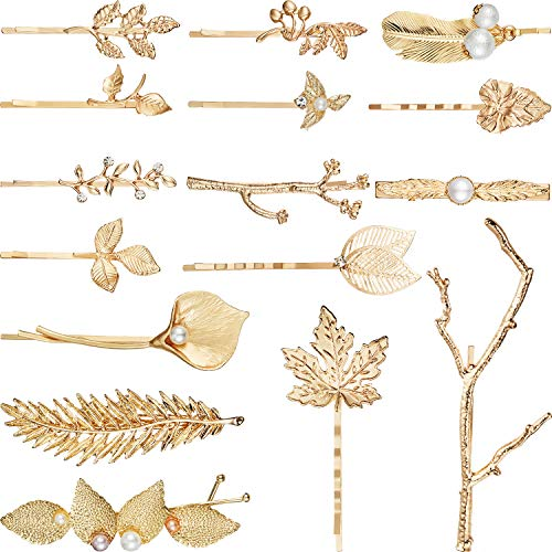 16 Pieces Gold Metal Leaf Hair C...