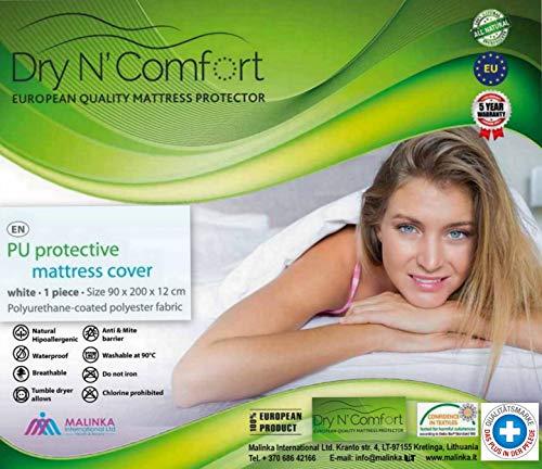 Dry N Comfort Matratzenbezug in mit Reißverschluss -Zipper Mattress Cover! Wasserdichter Matratzenbezug in weiß, atmungsaktiv und abwischbar 90x200 cm für Matratzen-Höhe 12 cm - 190 gr.Weiß