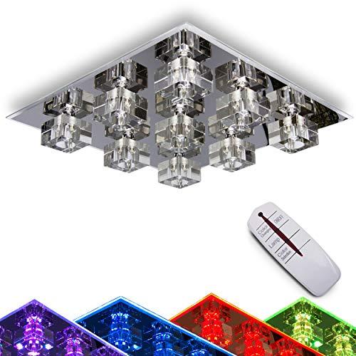 LED Deckenleuchte Burner 9-flammig mit Farbwechsler und Fernbedienung - 9 x G9-Fassung max. 28 Watt - RGB-LEDs 2800 Kelvin 370 Lumen - Metall-Sockel in Chrom mit Glaswürfeln - Wohnzimmer - Flur -