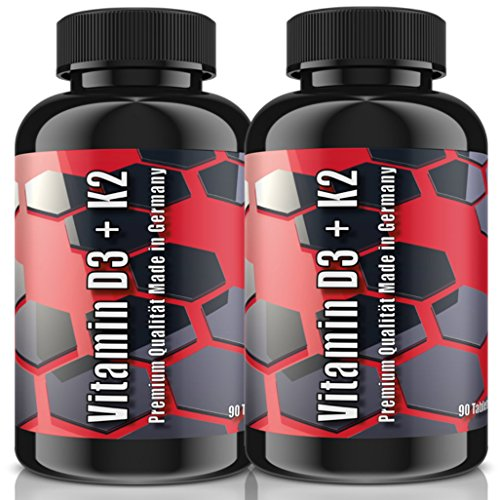 Vitamin D3 5.000 I.E+ Vitamin K2 100mcg (MK7) Depot - 180 (2x 90) Tabletten   Hochdosiert & Vegan   1000 I.E. pro Tag, Alle 5 Tage eine Tablette (1000 Mcg 90 Tabletten)