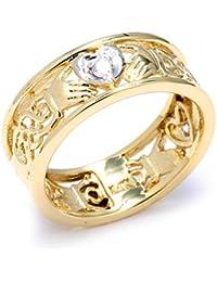 Kleine Schätze - Damen Ring / Verlobungsring / partnerring/ Ehering 10 Karat Zwei Ton Gold Diamant Claddagh Bande Mit keltisch Knote