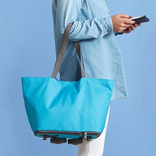 Sac shopping pliable avec roues, 2 voies Chariot Shopping/Voyage Sac à main (Bleu)