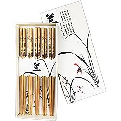 txian 5pares palillos de bambú Natural chino estilo con caja Orchid