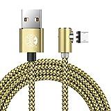Magnetisches Micro-USB-Kabel, 3 Packs 1M 2M 3M L-förmig/90 Grad Ladekabel für Samsung S4 S6 S7 Edge, Hinweis 3/4/5, Tab S2, LG G4, Sony und Mehr Android Micro-USB-Geräte (Gold)