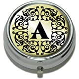 Letter A Initial Black White Tan Pill Case Trinket Gift Box