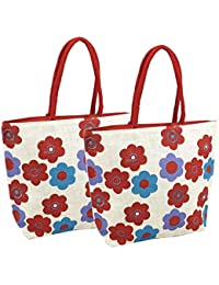 2 Pack Multipurpose Jute Shopping Bag/Lunch Bag/Travel Bag With Zipper - Assorted Color & Design