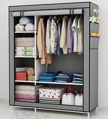 Udear richiudibile armadio cabina salvaspazio guardaroba appendiabiti in tessuto con cerniera grigio