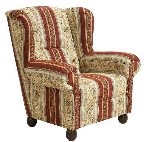 sch ne ohrensessel gestreift kariert mit hocker. Black Bedroom Furniture Sets. Home Design Ideas