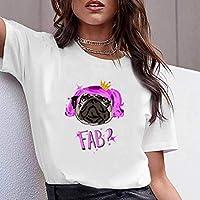 LuoMei Camiseta Estampada Blanca Jersey de Manga Corta con Cuello en o para Mujer Camiseta de Algodón Puro para MujerComo se muestra, s