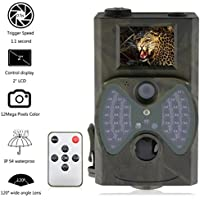 HC-300M Game Trail Camera 1080P 12MP with Sound Scouting Camera with LCD Screen No Glow Black Infrared Night Vision 0.5s Trigger Speed IP54Waterproof for Wildlife Hunting Monitoring Security