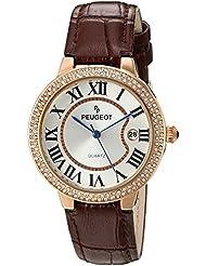 Peugeot Reloj para mujer, oro rosa, cristal engastado, correa de piel de color marrón