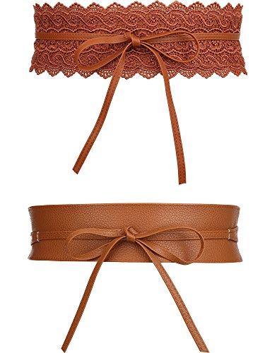 2 Estilos de Cinturón de Cuero de Mujer y Cinturón Ancha de Cuero de Lazo Vintage Cintura Cincha de Lazo para Vestidos (Marrón)