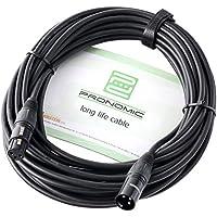 Pronomic XFXM-10 Mikrofonkabel (10m Länge, XLR female 3-pol -> XLR male 3-pol, Stecker handgelötet, säure- und ölfest, Spannzangen-Zugentlastung) schwarz