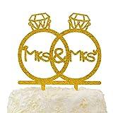Lesbian Frau und Frau in Diamant Ringe gleichen Sex Monogramm Hochzeit Verlobungsring Tortenaufsatz