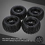 Fcostume 4 Stück Schwarze Felge und Reifen für 1/10 HSP 94111 94188 Monstertruck (As Shown)